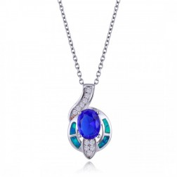 Sterling Silver, Blue Opal, CZ and Oval-Cut Sapphire Drop Pendant
