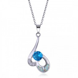 White Opal, Blue Aquamarine, CZ and Sterling Silver Pendant
