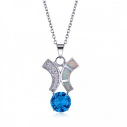 White Opal, Blue Aquamarine, CZ and Sterling Silver Drop Pendant