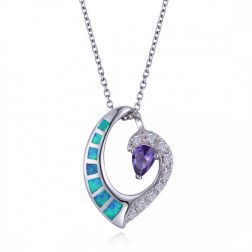 Sterling Silver Heart Wave Pendtant With CZ, Blue Opal and Purple Amethyst