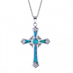 Blue Opal and Sterling Silver Crowned Cross with CZ - Pendant