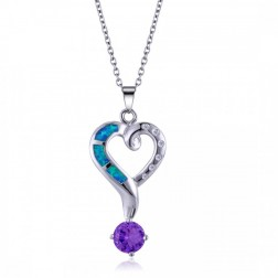 CZ and Blue Opal Heart Pendant with Purple Amethyst in Sterling Silver