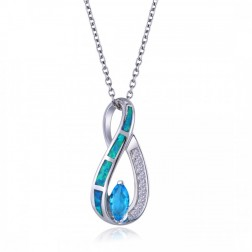 Blue Opal and CZ Drop with a Marquis-Cut Sky Blue Topaz