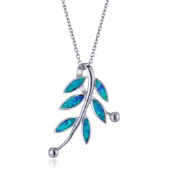 Sterling Silver Vine Pendant with Blue Opal Leaves