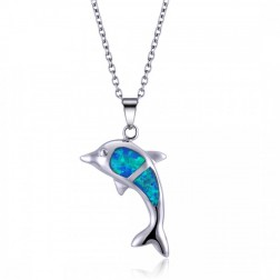 Blue Opal and Sterling Silver Dolphin Pendant