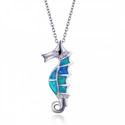 Seahorse in Blue Opal, CZ and Sterling Silver - Drop Pendant