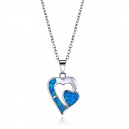Double Heart Sterling Silver and Blue Opal Pendant