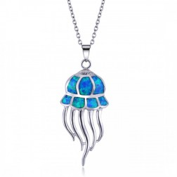 Blue Opal and Sterlign Silver Jelly Fish Pendant