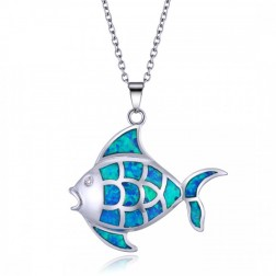 Sterling Silver and Blue Opal Fish Pendant