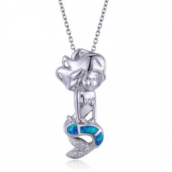 Blue Opal, CZ, and Sterling Silver Mermaid Pendant