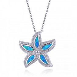 Blue Opal and CZ Starfish Pendant in Sterling Silver