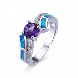 Blue Opal and Amethyst Wave Ring