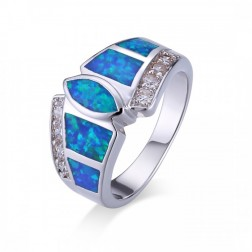 Blue Opal and CZ marquis Cut Geometric Ring