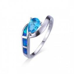 Blue Opal and Blue Topaz Pear Cut Ring