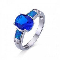 Oval Cut Blue Topaz and Blue Opal Ring