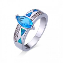 Geometric Blue Topaz Marquis Cut and Blue Opal Ring with CZ