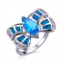 Bow Ring with marquise Blue Topaz, Blue Opal and CZ