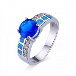 Round Blue Saphire, CZ and Blue Opal Ring
