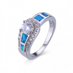 CZ and Blue Opal Ring