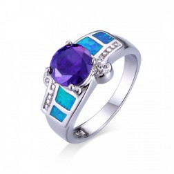 Round-Cut Amethyst  Set in Sterling Silver Ring with Blue Opal