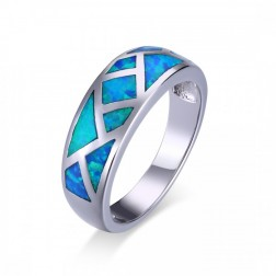 Geometric Blue Opal Ring in Sterling Silver
