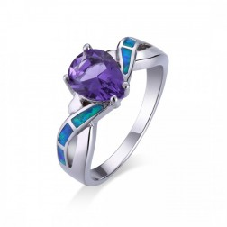 Amethyst and Blue Opal Wave Twist Ring