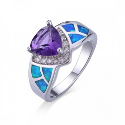 Trillium-Cut Purple Amethyst and Blue Opal Ring set in Sterling Silver with CZ