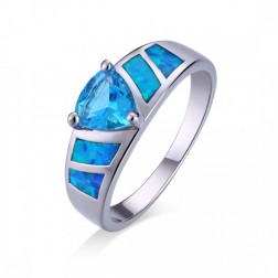 Trillium-Cut Sky Blue Topaz and Blue Opal Ring in Sterling Silver