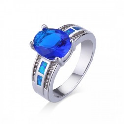 Blue Oval-Cut Sapphire and Blue Opal Ring in Sterling Silver