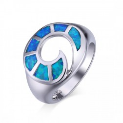 Surfs Up Blue Opal Wave Ring