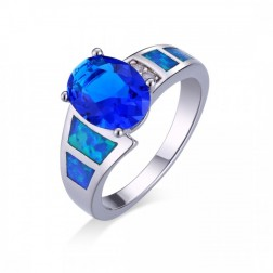 Oval-Cut Blue Saphire and CZ Ring with CZ set in Sterling Silver