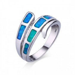 Blue Opal Wrap-Look Ring in Sterling Silver