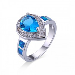 Pear-Cut Sky Blue Topaz with CZ and Blue Opal set in Sterling Silver Ring