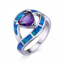 Amethyst Triangle-cut and Blue Opal Wave Ring