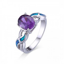 Amethyst and Blue Opal Wave Ring - Oval Cut