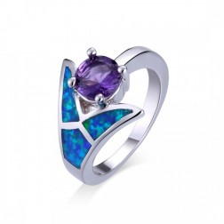 Blue Opal Mermaid Tail Ring with Round Amethyst