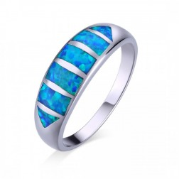 Blue Opal Geometric Ring