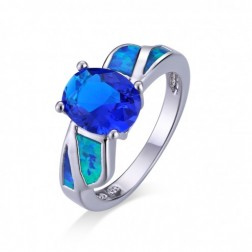 Oval Saphire and Blue Opal Ocean Ring