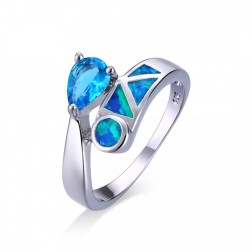 Pear-Cut Blue Topaz and Blue Oal Geometric Ring