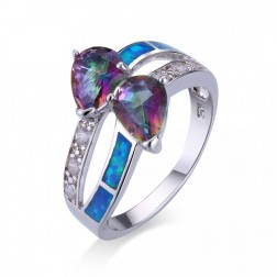 Pear-Cut Mystic Topaz and Blue Opal Ring with CZ