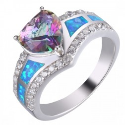 Purple Mystic Topaz Ring with CZ and Blue Opal - Geometric Ring