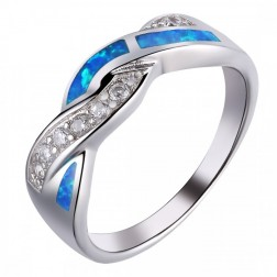 CZ and Blue Opal Twist Ring in Sterling Silver