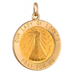 Our Lady of Loreto 18.5mm 14K Yellow Gold Pendant Charm