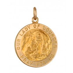 Our Lady of Lourdes 18.5mm 14K Yellow Gold Pendant Charm