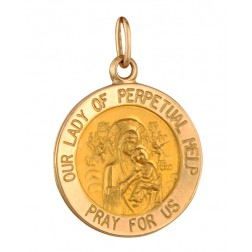 Our Lady of Perpetual Help 15.5mm 14K Yellow Gold Pendant Charm