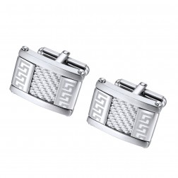 Textured Greek Key Pattern Stainless Steel Cufflinks