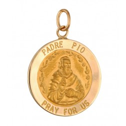Padre Pio 18.5mm 14K Yellow Gold Pendant Charm