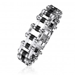 Mens Stainless Steel And Black Rubber Bracelet