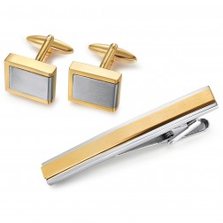 Two Tone Brushed Geometric Cufflinks in Stainless Steel