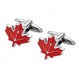 Bold Canadian Maple Leaf Cufflinks in Stainless Steel